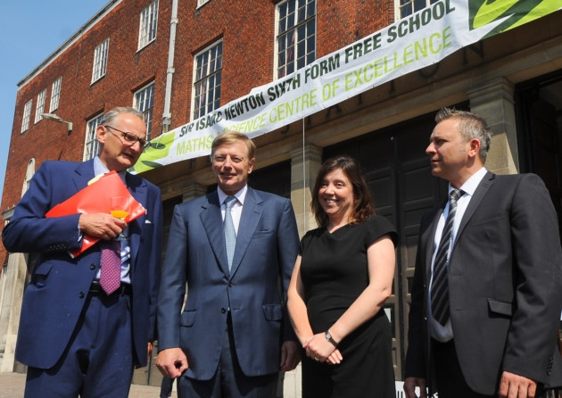 Here they are chortling together outside Isaac Newton Sixth Form, housed in the old fire station and gifted to them at a knock-down rent by one of their millionaire mates. Sir Theo of Agnew is on the left of the picture, Lord of Nash beside him. Who's that lady? Oh, it's Rachel de Souza of course!